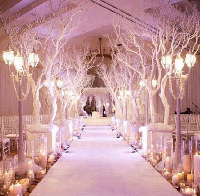 Snow Themed Wedding Indoor Wedding Ceremony Decoration Ideas