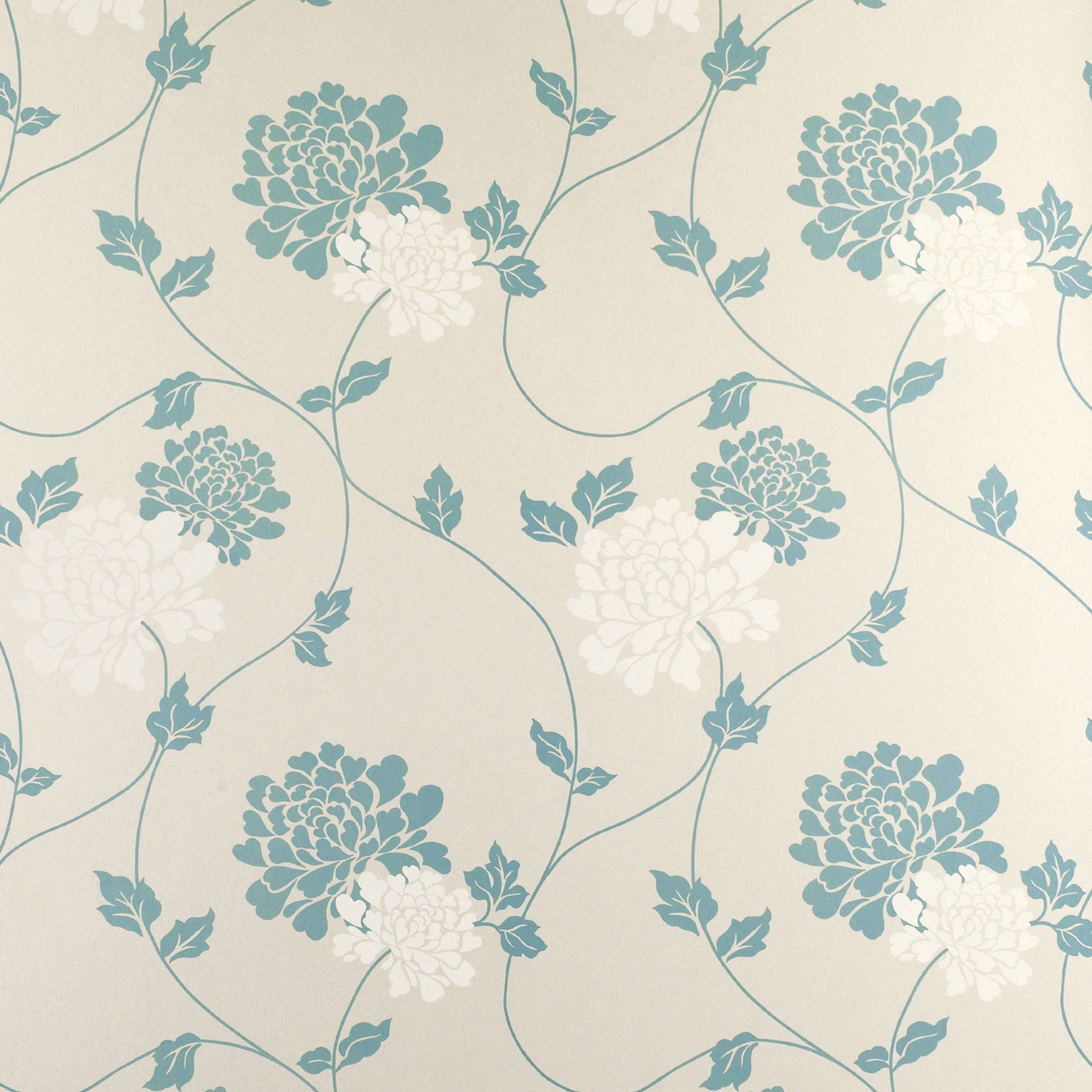Isodore Teal Floral Wallpaper At Laura Ashley Patterns