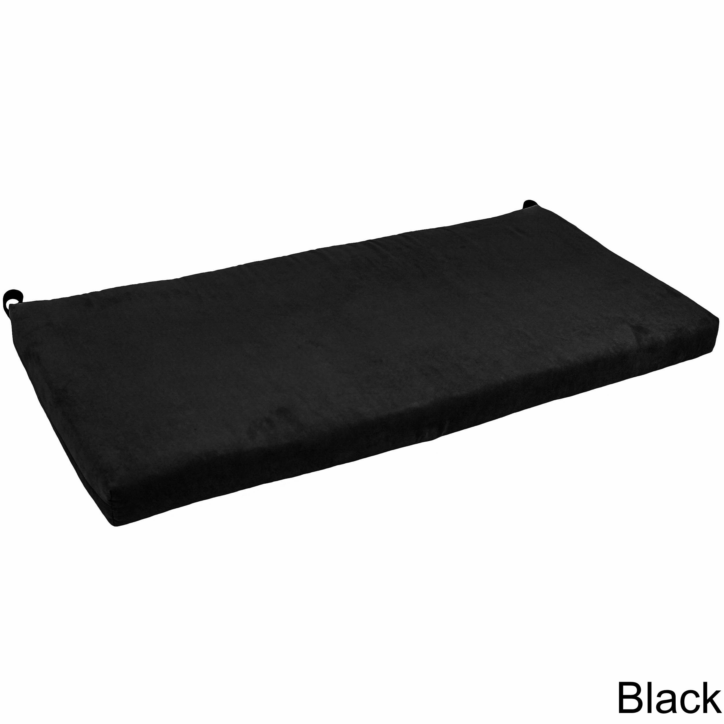 Blazing Needles 42 Inch Microsuede Indoor Bench Cushion Black