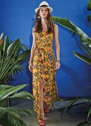 338ae7651 Vestido Longo Estampado Lunender Amarelo - Posthaus   Dressful ...