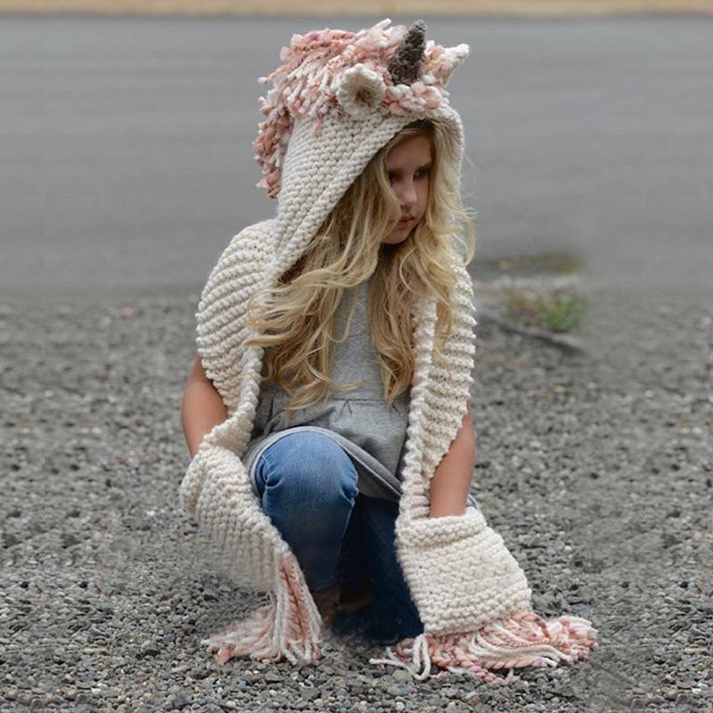 Unicorn Hooded Scarf Animal Hoodie Cowl Crochet Knitted Beanie Hat Kid Halloween