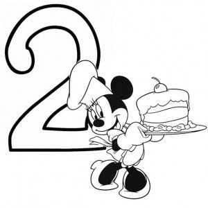 Minnie Mouse And Birthday Cake Number 2 Coloring