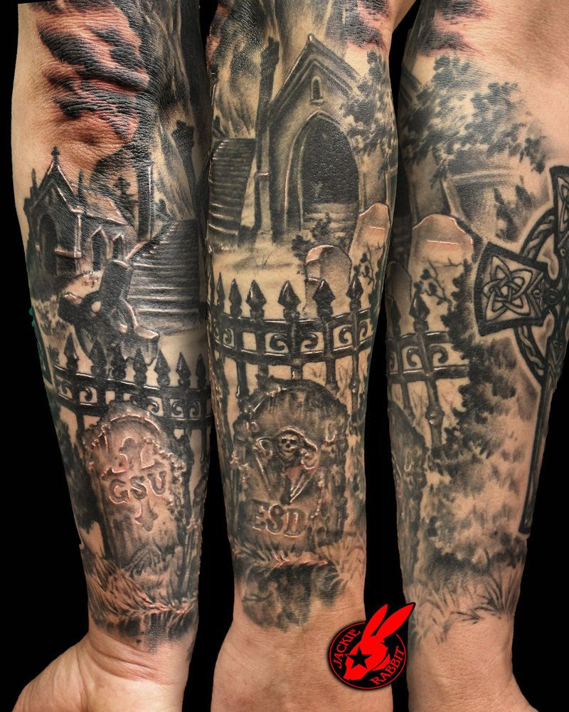 Graveyard Tombstone Sleeve Tattoo By Jackie Rabbit By Jackierabbit12 On Deviantart Graveyard Tattoo Half Sleeve Tattoo Tattoos