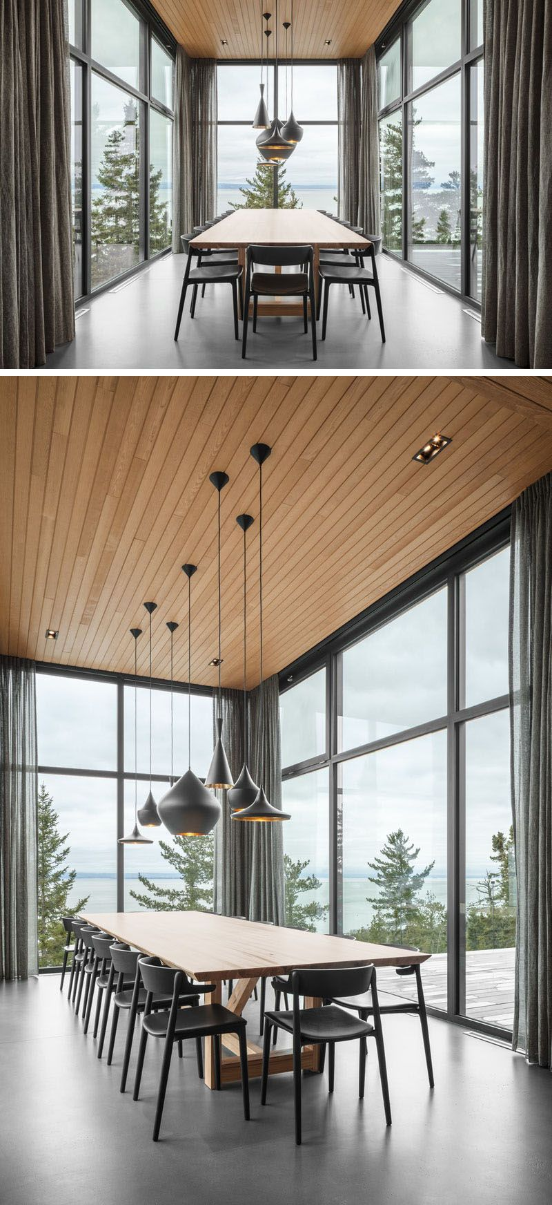 A Dining Room Surrounded By Glass Is Projected Out From The Rest Of This House images