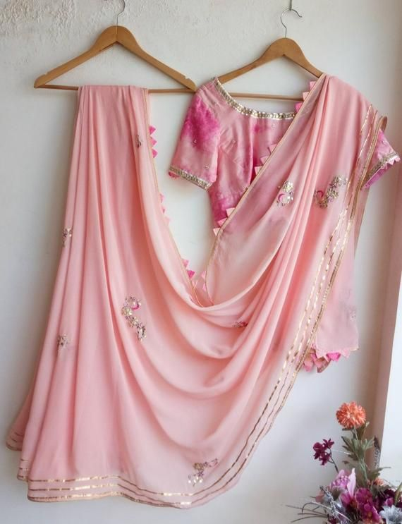20df7a7f187352 Baby Pink Gota Patti Saree with Shibori Blouse in 2019 | Products ...