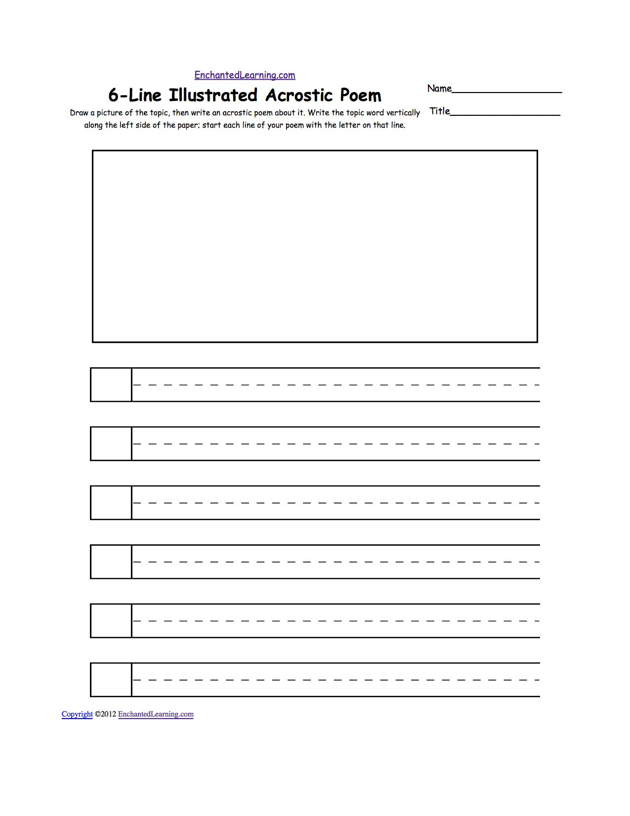 Blank Illustrated Acrostic Poem Worksheets (Handwriting ...