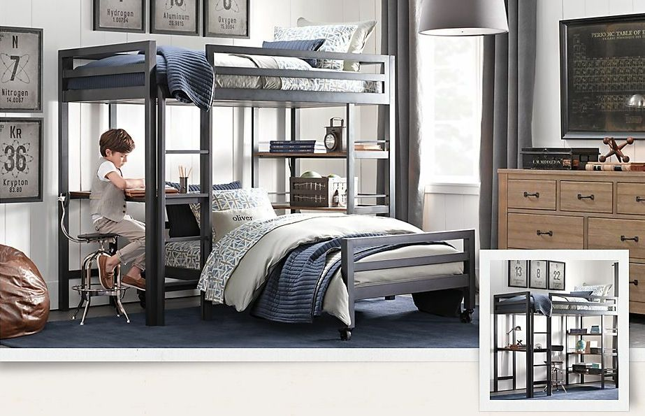 Kids Room Ideas Bunk Beds fascinating-black-white-and-blue-boys-room-with-bunk-bed-and