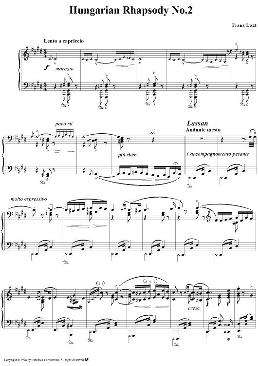 Hungarian Rhapsody No 2 In C Sharp Minor Sheet Music Free Sheet Music Printable Sheet Music