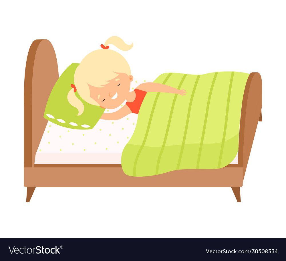 Cute Blonde Little Girl Sleeping Sweetly In Her Vector Image On Vectorstock Little Blonde Girl Girl Sleeping Cartoon Styles