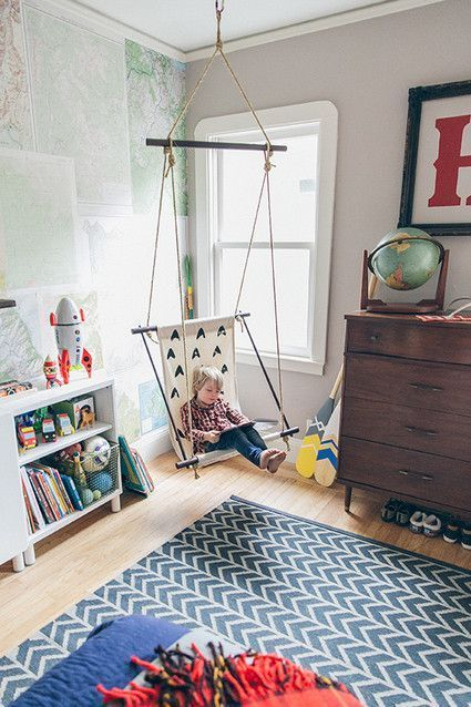 Add a hanging chair to a corner of a playroom or your kid\'s ...