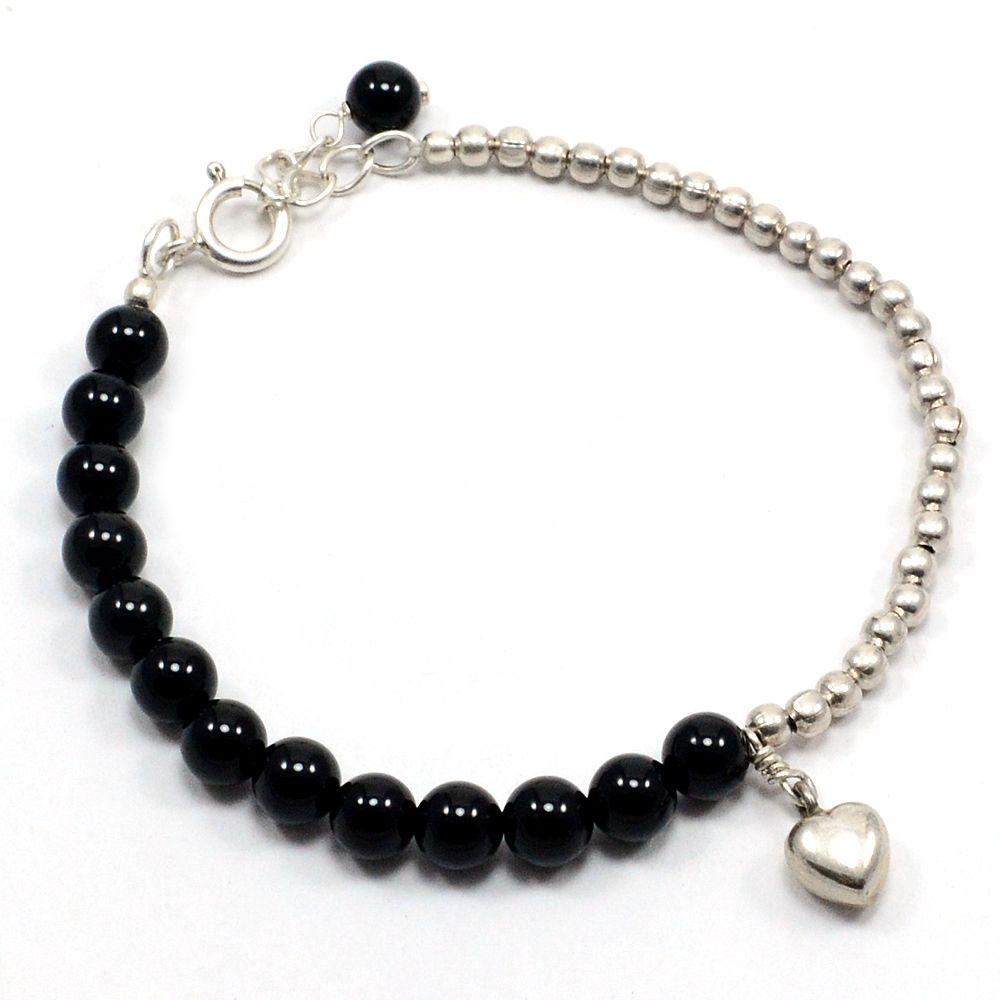 Silvesto india sterling silver onyx black bracelet for women pg