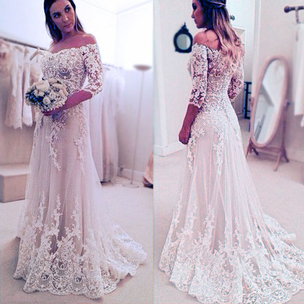 Best wedding dresses for full bust  Stunning Off Shoulder Half Sleeve Long Aline Lace Appliques Sweep