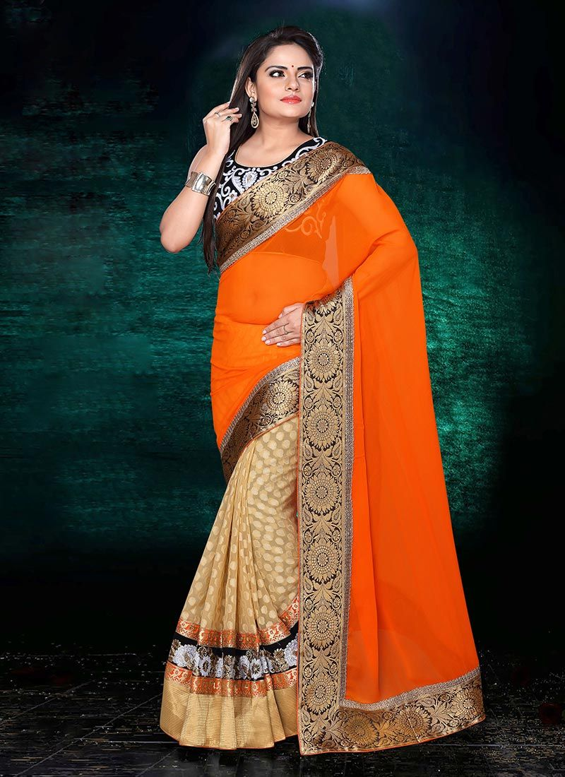 Velvet saree images splendid beige n orange half n half saree  exclusive saree