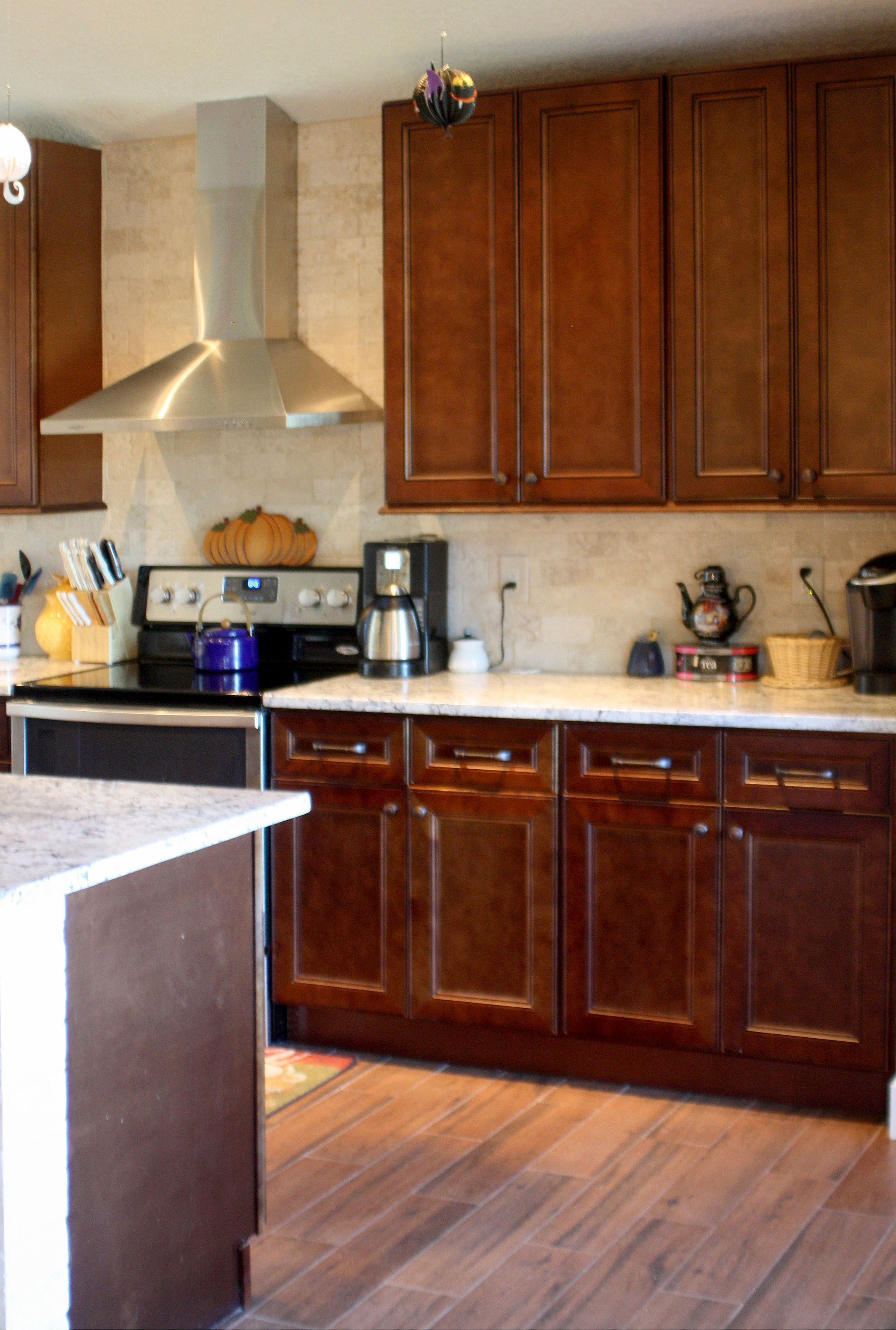 All New Cabinets Hardware And Walls Of Travertine Subway Tile