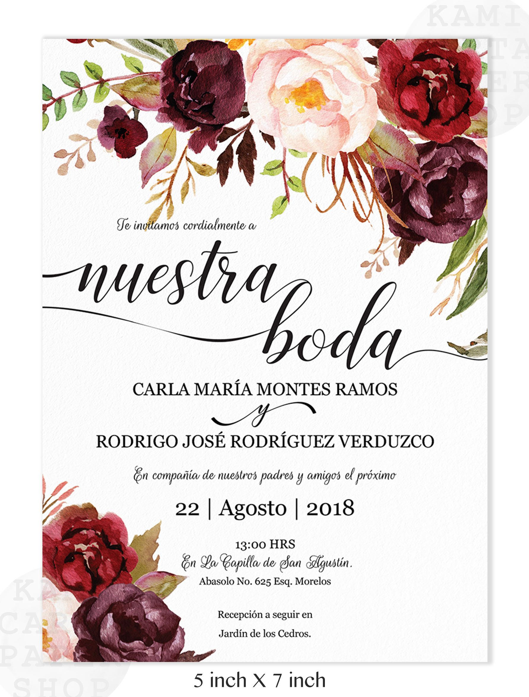 Invitaciones de Boda, Spanish wedding invitation,