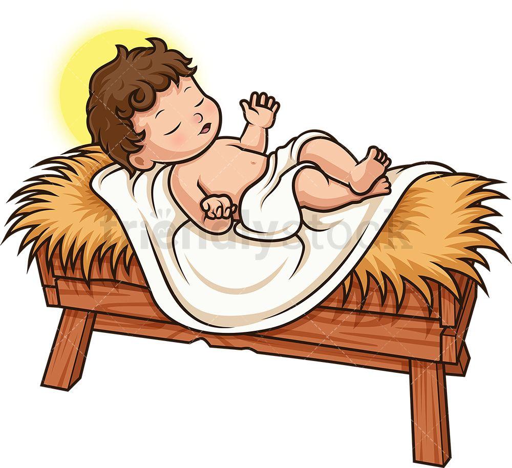 Baby Jesus Cartoon Clipart Vector Friendlystock Jesus Cartoon Cartoon Clip Art Cartoon