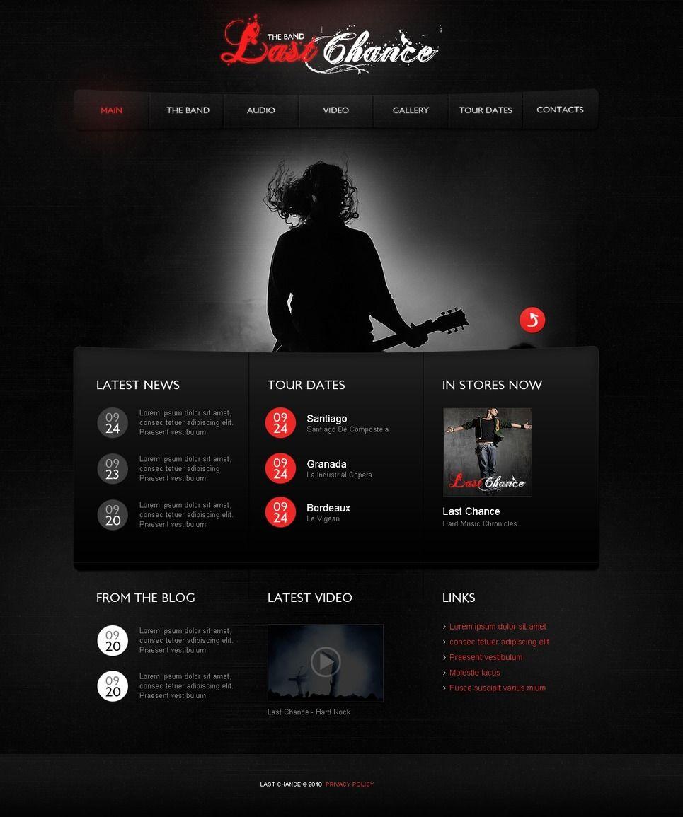 Music Band Psd Template 56295 Band Website Music Website Templates Music Bands