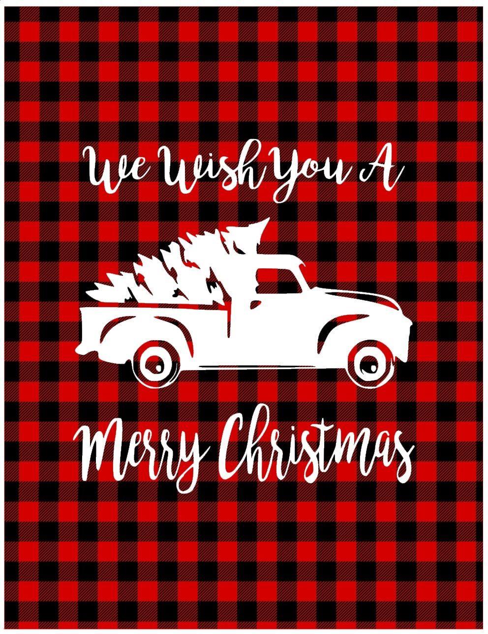 Christmas, Buffalo Check Sign We Wish You A Merry