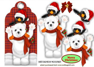 CUTE PENGUIN WITH POLAR BEAR ON RED TARTAN TAG on Craftsuprint - Add To Basket!