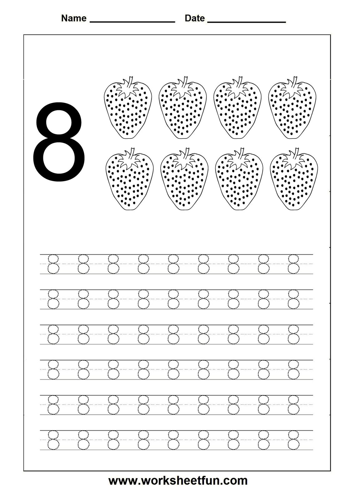 Number Tracing worksheet - 8 | Apprentissages | Pinterest | Zahlen ...