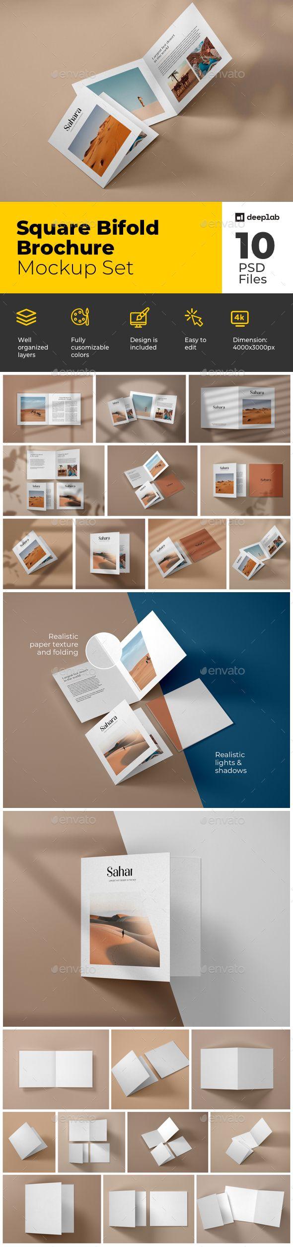 Download Square Bifold Brochure Mockup Set Brochures Mockups Box Mockup Flyer Mockup