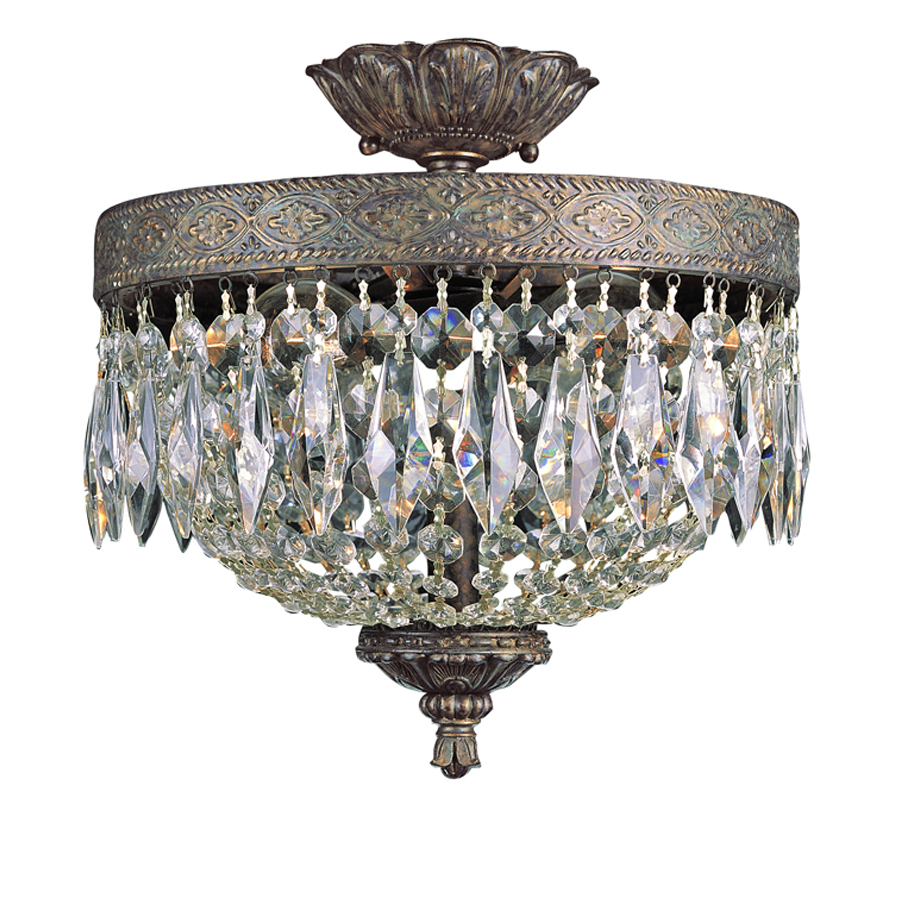 Trans Globe Lighting 8392 Crystal Two Light Semi Flush Ceiling Fixture From The Dark Bronze With Gold Indoor Fixtures