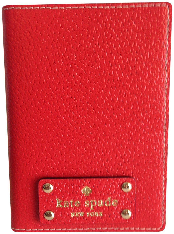 bcff448036a72 Kate Spade Wellesley Passport Holder Empire Red Leather Case WLRU1236