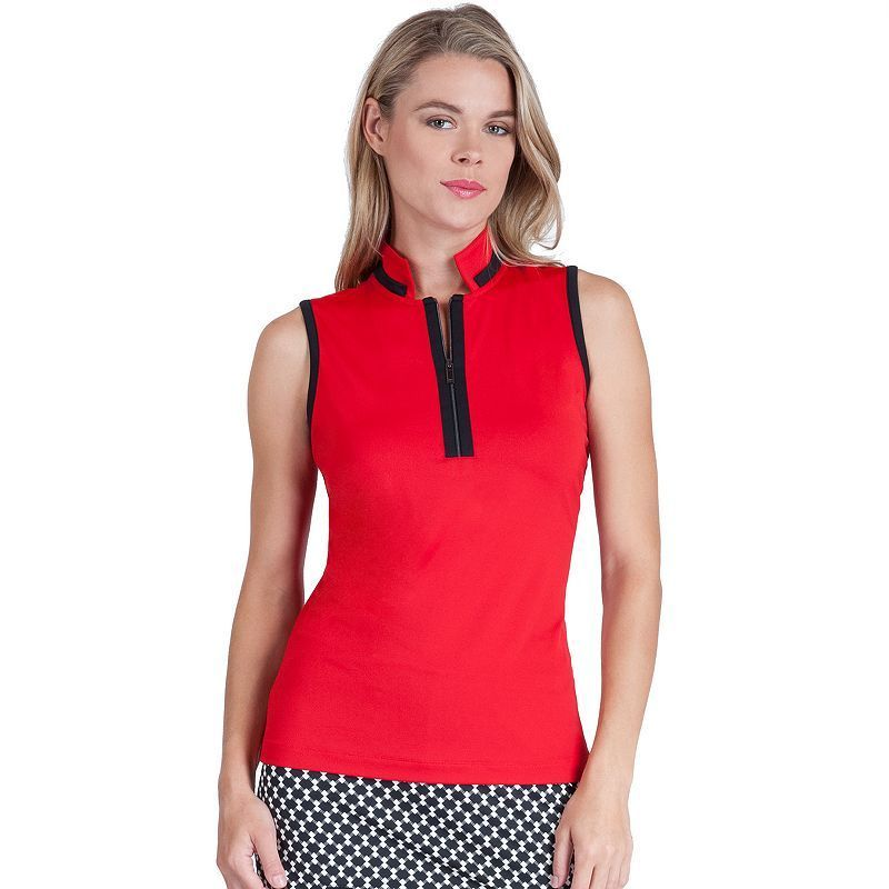 Women's Tail Becky Quarter-Zip Sleeveless Golf Polo, Size: Medium, Dark Red