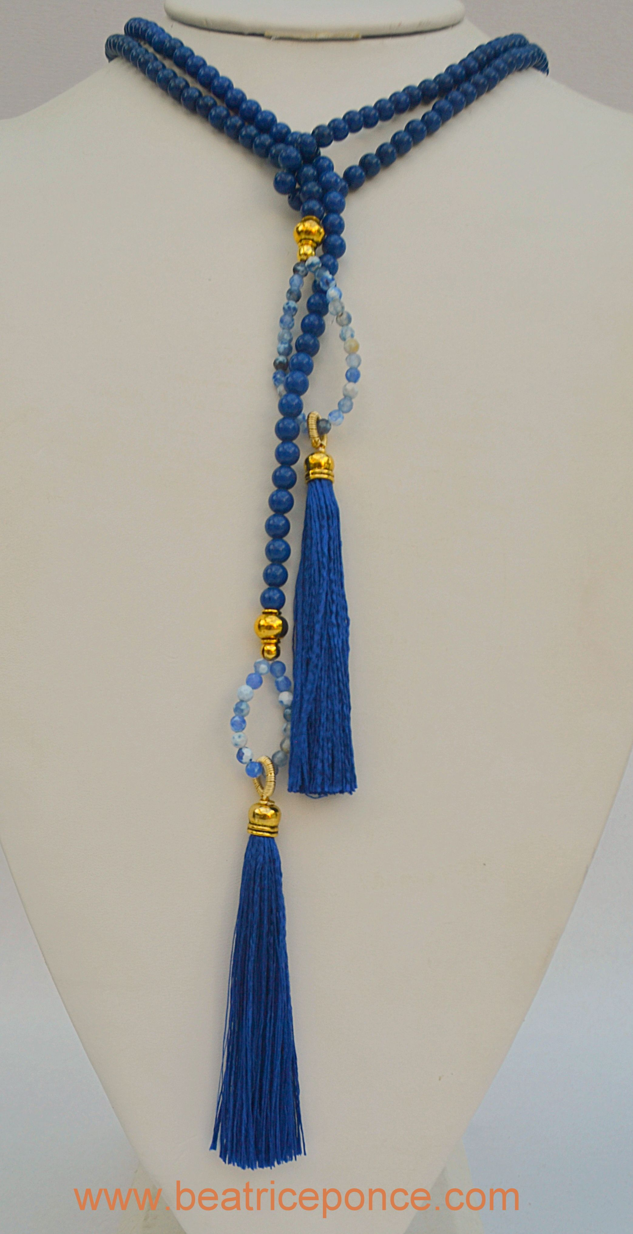 Plain Royal Blue Silk #Tassel and  Jade Stone long string with loops #Lariat…