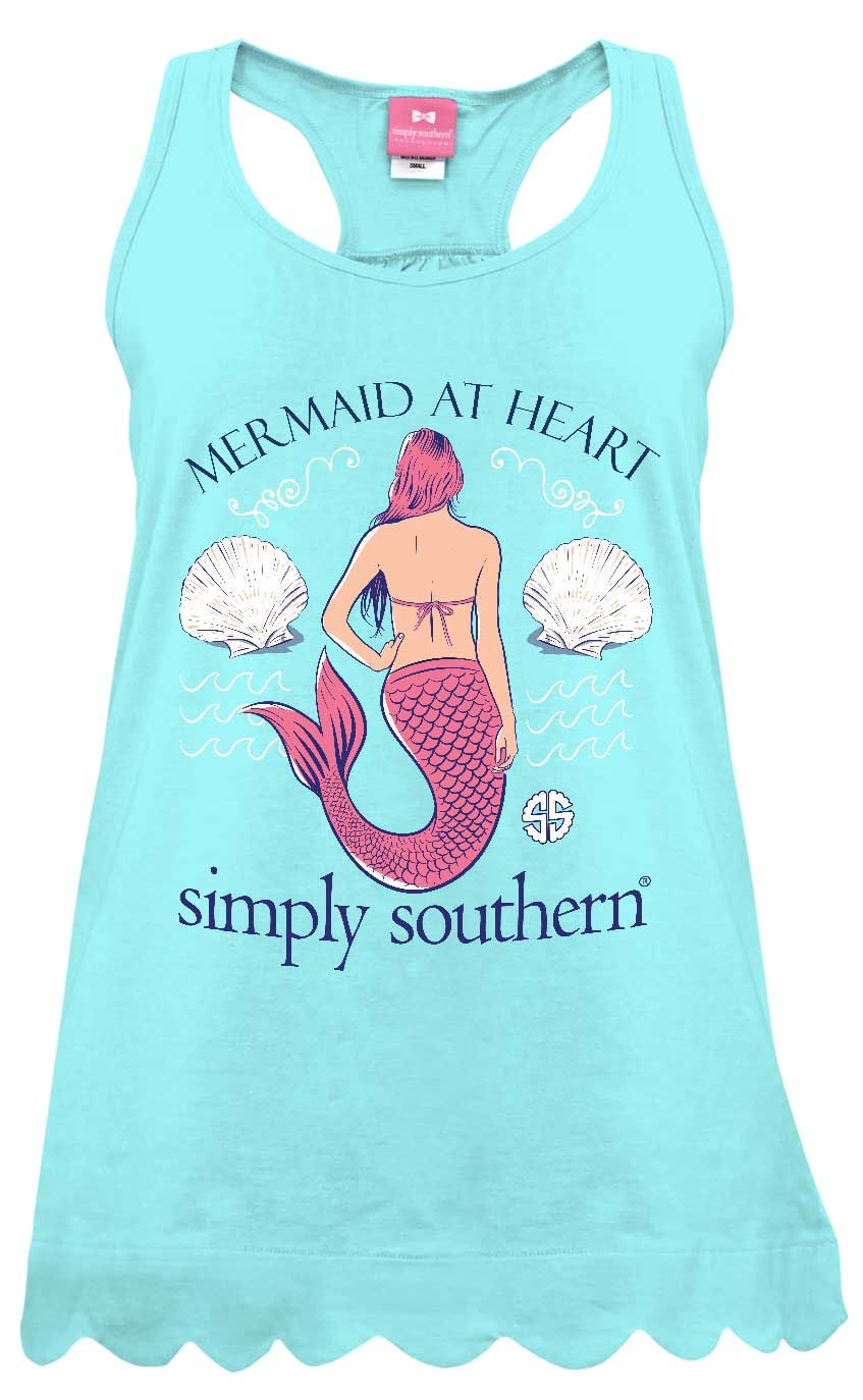 cb265add4dd5b9 Simply Southern Preppy Collection Mermaid Tank Top for Women in Marine TANK -MERMAID-MARINE