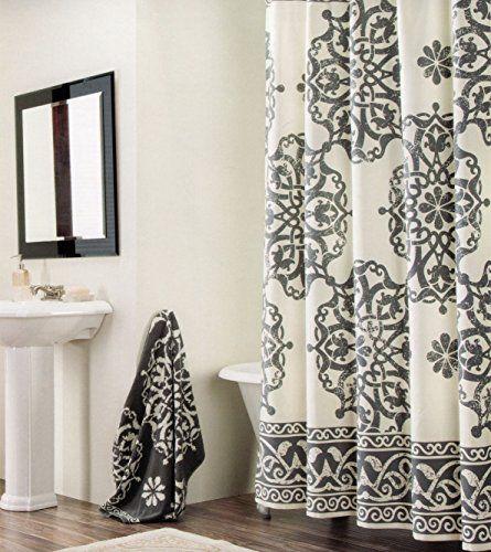 Tahari Luxury Cotton Shower Curtain Aqua Blue White Paisley