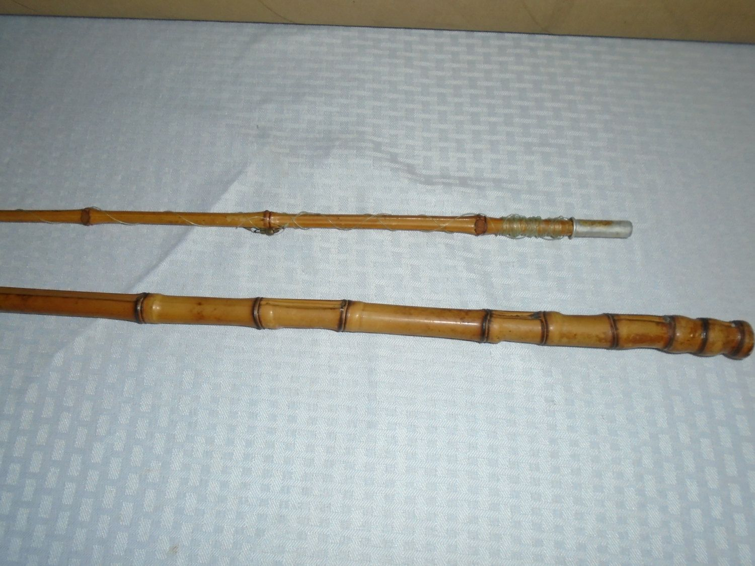 Old cane pole large vintage cane fishing pole bamboo for Vintage fishing poles