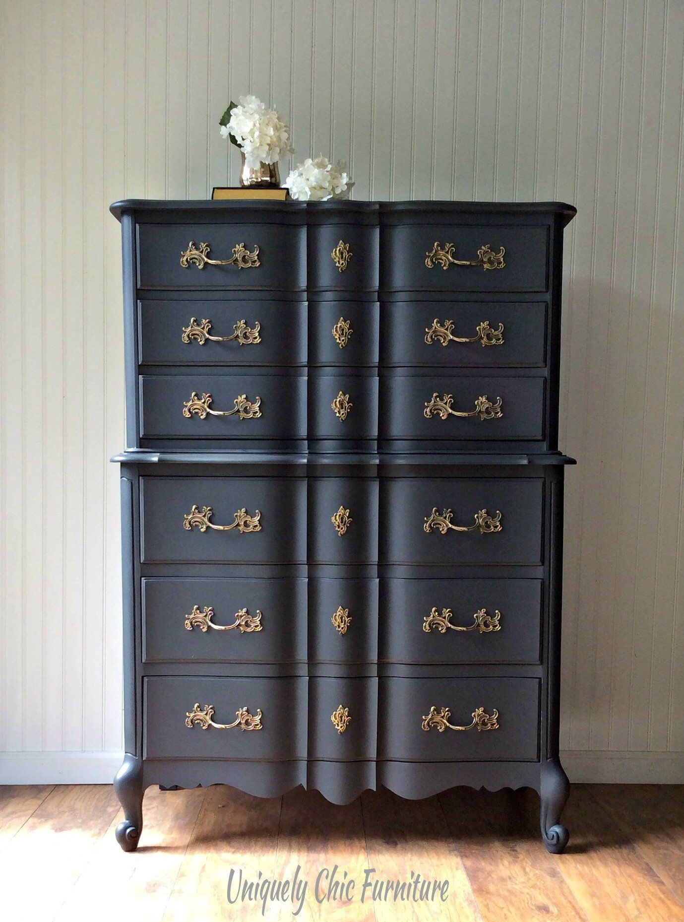 Black French Provincial Tall Dresser Vintage Painted