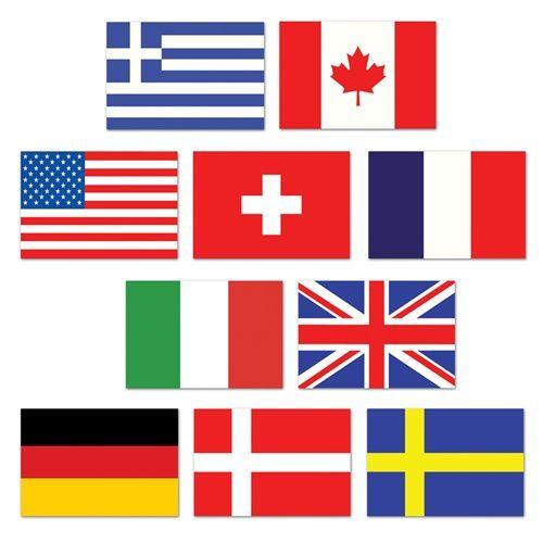 Mini International Flag Cutouts 10 Pkg International Flags Flags Of The World International Party Theme