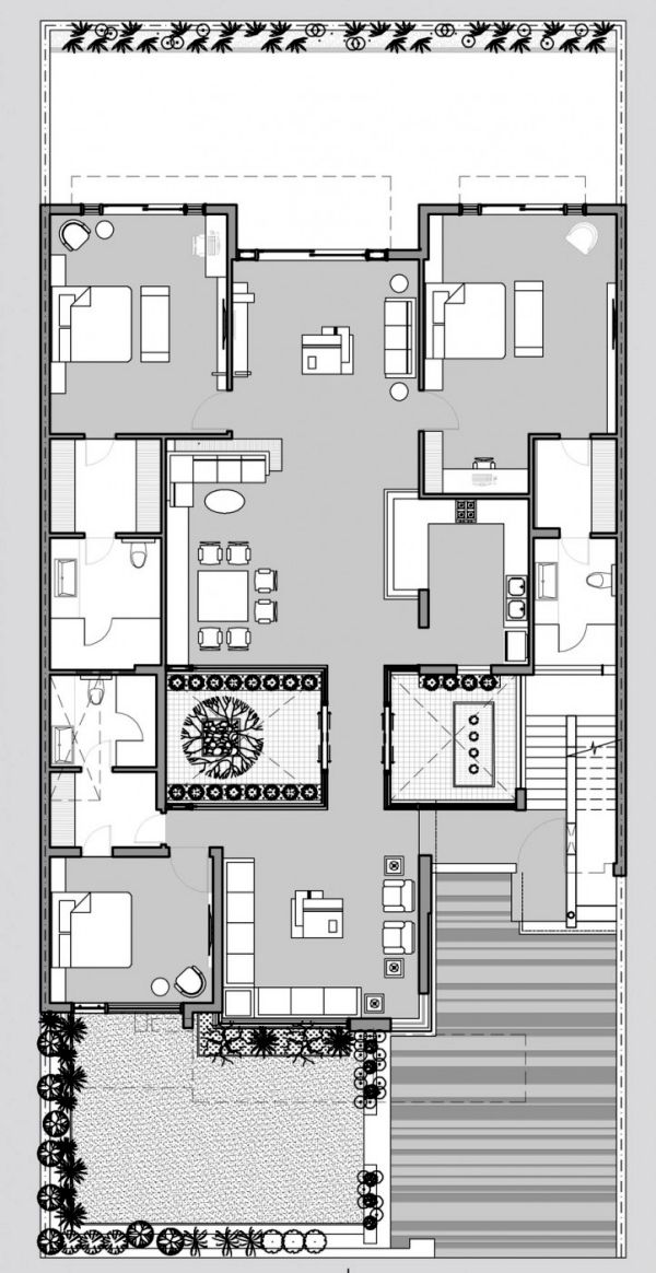 Flat Roof House With Yard Contemporary Architecture Solutions From India Modern House Plans Courtyard House Plans Home Design Floor Plans