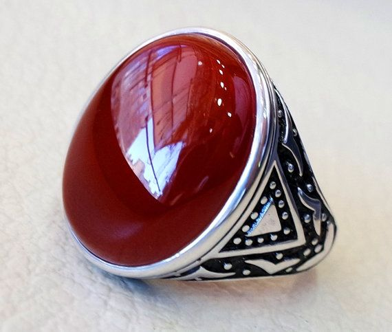 Mens VINTAGE Ring of Antique YEMENI AGATE Stone of 925 Sterling Silver
