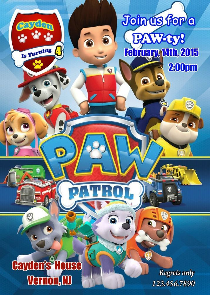 Paw Patrol Birthday Invitation Paw Patrol Party Supplies Everest