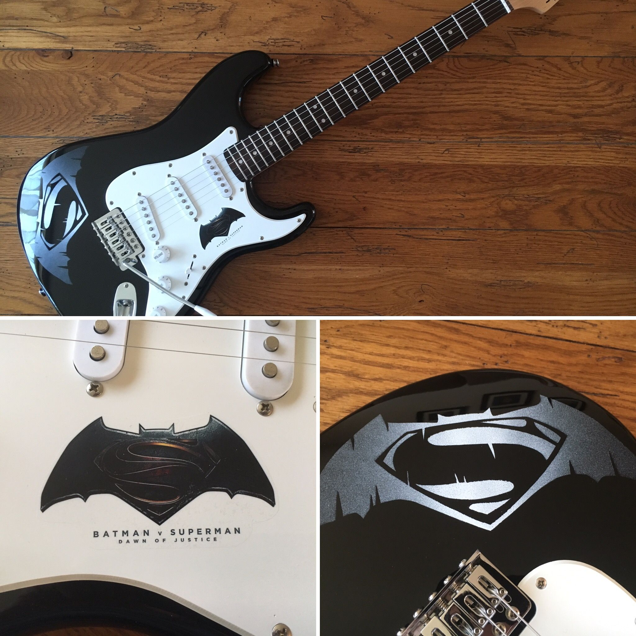 Custom Batman vs Superman on a Fender Squier Bullet Stratocaster