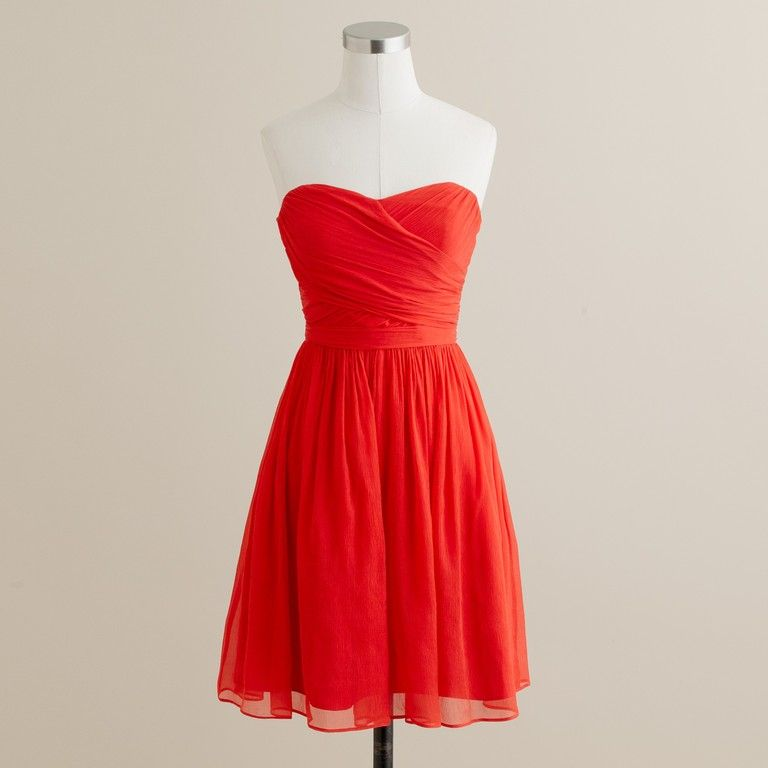 Bright red bridesmaids: J.Crew Arabelle dress in silk chiffon. Vivid ...