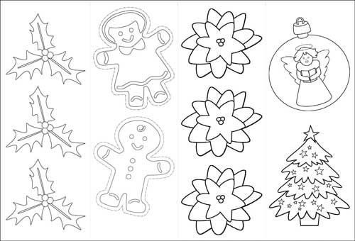 christmas coloring ornaments or gift tags