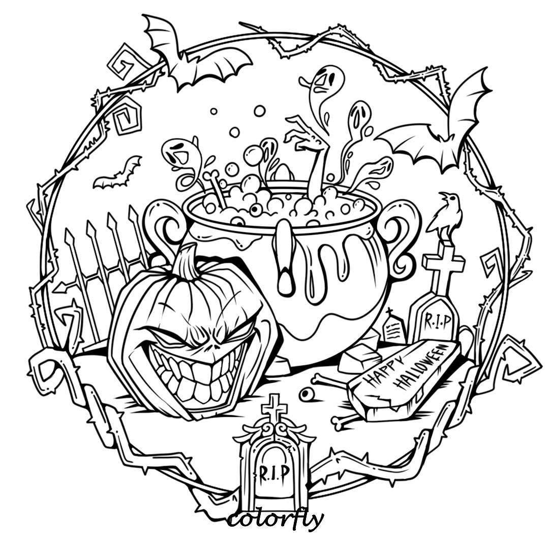 Colorfly Freebie Halloween Is Around The Corner Are You Ready To Give It Some Color Yo Halloween Coloring Sheets Halloween Coloring Halloween Coloring Pages