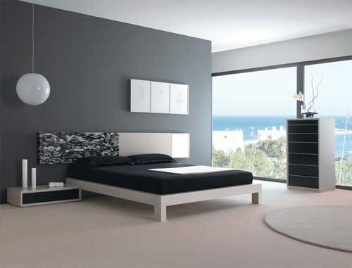 House Design Idea Of Bedroom With Black And White Bed Grey Walls And Bedroom Furniture And Interior Design About Bedroom With Black And White Bed Grey