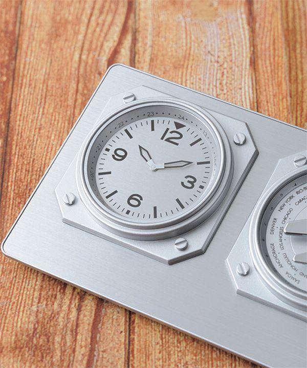 しれっと置くだけでかっこいい置き時計 World Time Clock 時計部分の画像 置時計 アナログ 置き時計 インテリア スタイリッシュ