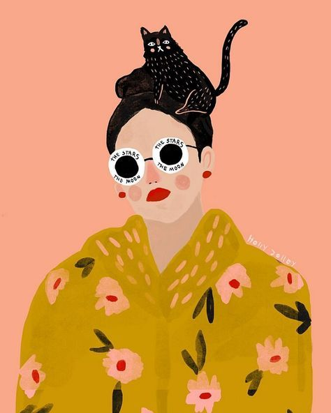 Illustrated Ladies (and lots of pink) by Holly Jolley #collageboard