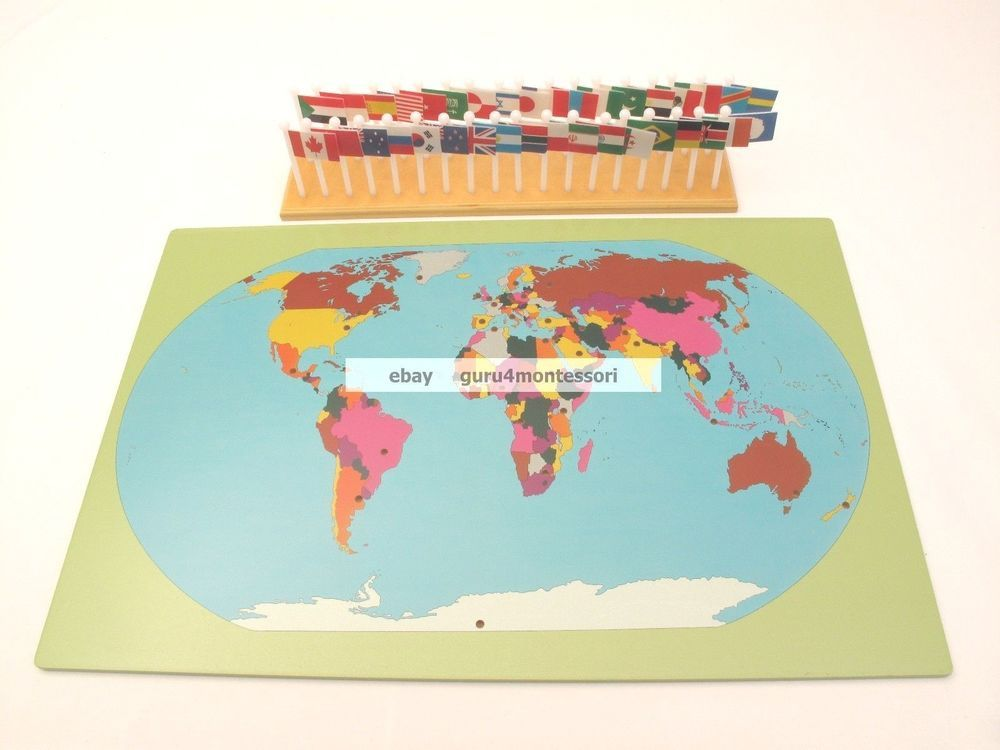 New montessori geography materials flag stand world map 36 new montessori geography materials flag stand world map 36 flags guru4montessori gumiabroncs Images