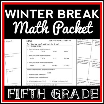 5th grade winter break math packet holiday break packet math for fourth grade christmas. Black Bedroom Furniture Sets. Home Design Ideas