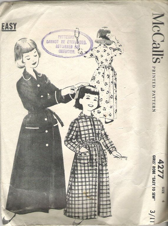 1950\'s Sewing Pattern - McCall\'s 4277 Childs Dressing Gown/Robe size ...
