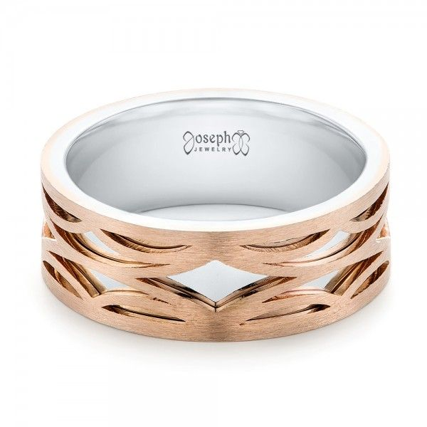 TwoTone Rose Gold Filigree Mens Band Laying View rings