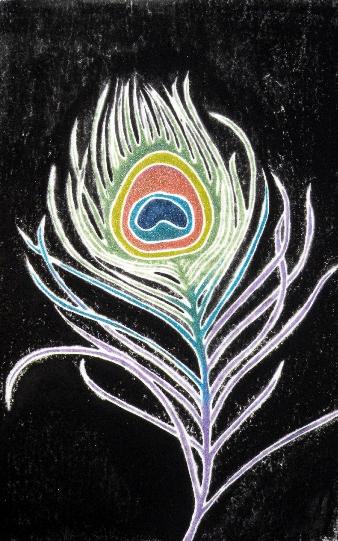 Peacock Feather (original white line woodcut). $40,00, via Etsy.