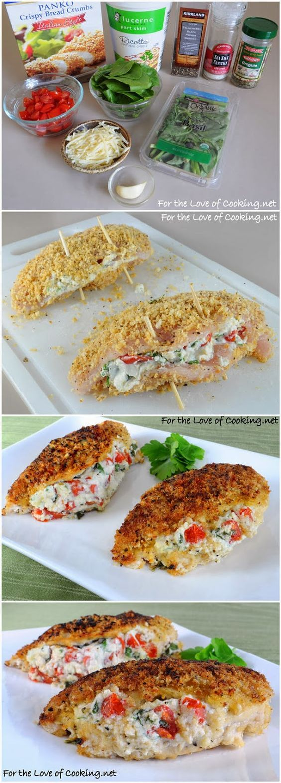 Panko Crusted Chicken Stuffed with Ricotta, Spinach, Tomatoes, and Basil - kiss recipe